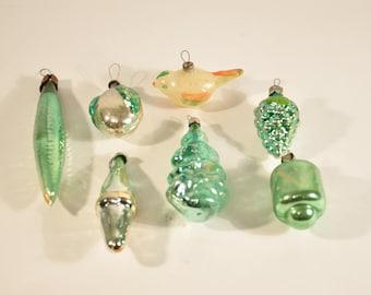 Rare! antique glass figural christmas ornaments, Birdie glass ornaments, Vintage Christmas ornament, USSR ornament, bird -L005