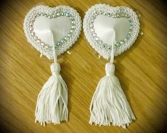 Burlesque Rhinestone Heart Pasties White Nipple Tassels Rave Festival EDC Clubwear