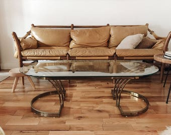 Mid Century Glass & Brass Coffee Table