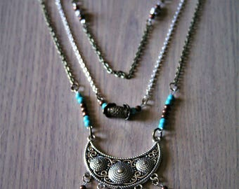 """Chalcedony necklace and turquoise """"Language"""""""
