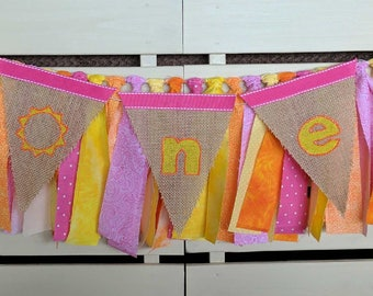 Bright Pinks, Oranges, and Yellow Fabric and Burlap ONE Banner
