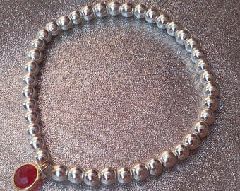 Bracelet balls silver plate Silver 925 events she faceted Ruby