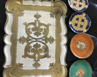 Italian wooden coaster dishes and tray