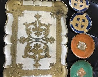 Italian wooden coaster dishes and tray