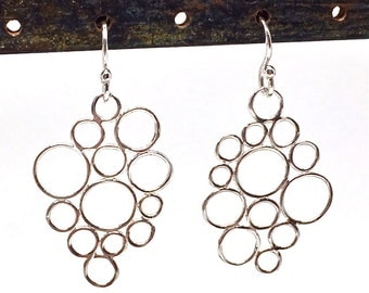 Bubble Earrings Silver Bubble Dangles Bubble Drops Modern Silver Earrings Circle Bubbles Circle Jewelry Womens Gift for Wife Girlfriend