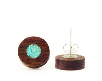 Wooden Stud Earrings Made from European Walnut Tree With Turquoise Stone Circle Inlay