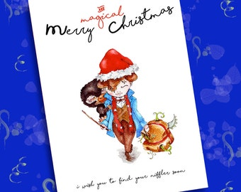 Merry Christmas Card Newt Scamander - Fantastic Beasts and where to find them - 1 jpeg 300 dpi - 14,8 x 21 cm