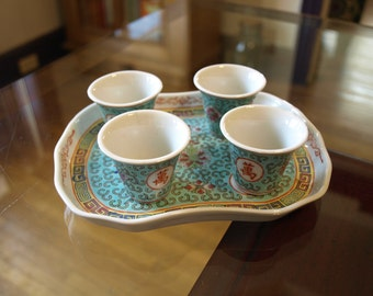 Vintage Porcelain Sake Cups (Shot Glasses) with Serving Tray made in China – Blue with Chinese Calligraphy