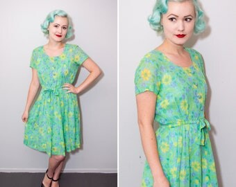 1960's Blue & Green Floral Print Cotton Scoop Neck Sun Dress | Size Small