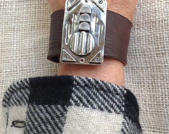 Sterling And Leather Contemporary Bracelet