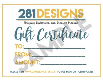 Gift Certificate, Custom Shirt Design Gift Certificate, Holiday Gift, Christmas Present, Birthday Present
