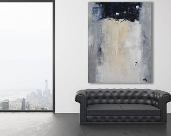 XL Textured Abstract / Modern Abstract Art / Beige, Grey and White Painting / Neutral Colors Abstract / Extra Large Art