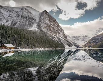Lake Louise Boathouse & Glacier Photography Print