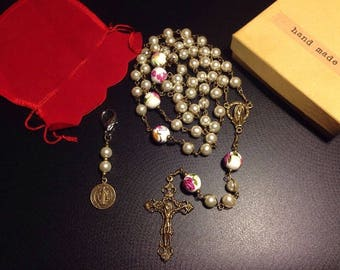 Unbreakable rosary, glass pearls catholic rosary, St. Benedict medal  - handmade