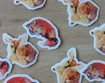 Mini fox and fawn stickers
