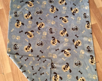 cover blanket child baby reversible minky grey os dogs