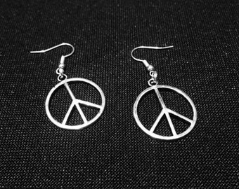Antique Silver Look Peace Sign Earrings
