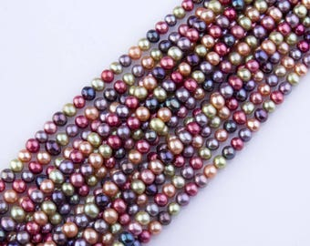 8mm-9mm Multicolor Freshwater Pearls, Loose Pearls, Semi-Precious Gemstones, Priced per Strand, Mixed Color, Natural Pearls, PRL053