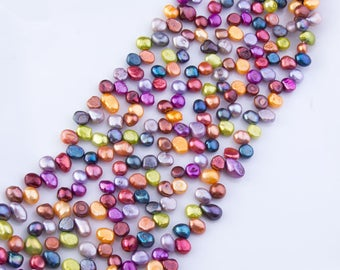 7.5mm - 9mm Fall Multicolor Freshwater Nugget Pearl Beads, Loose Pearls, Semi-Precious Gemstones, Priced per Strand, Mixed Color, PRL115