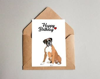 Boxer Dog Greeting Card, Boxer Birthday Card, Dog Card, Boxer Card, Greeting Card, Boxer, Happy Fathers Day, Congratulations, Thank You card