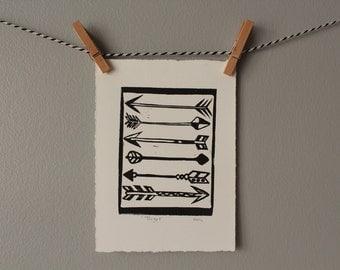 arrow print, black and white art, bow and arrow, tribal arrow, linocut, target, valentine, home decor, arrows