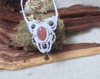 Macrame necklace / necklace ethnic / rose quartz necklace / necklace boho