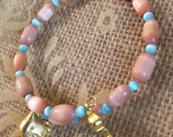 Cat- Peach Cat's Eye and Light Blue Cat's Eye Bracelet