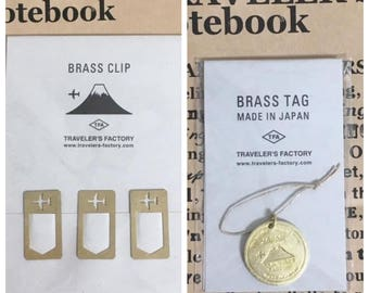 Traveler's Factory Brass Clips Airplane 07100296 and Brass Tag Japan Trip 07100297 (MADE IN JAPAN) Set Midori Designphil