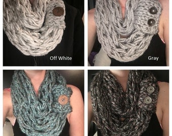 Knit Scarf, Infinity Scarf, arm knit scarf, Circle Scarf, Button Scarf, Knit Scarf, Button Cuff
