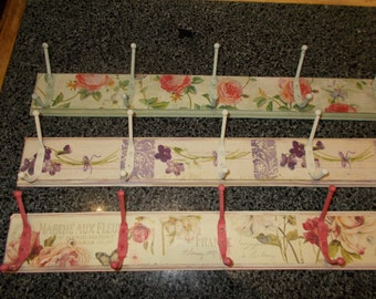 pretty decoupaged and chalk painted coat hooks , choice of 3