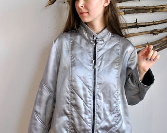 Silver parka 1990s 1980s vintage womens long jacket