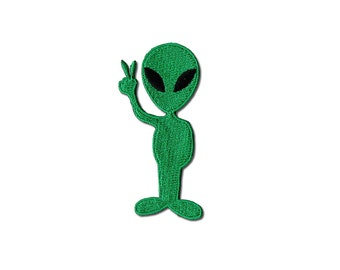 Alien Patch - Green Alien Embroidered Iron on Patch, Alien Iron on Applique
