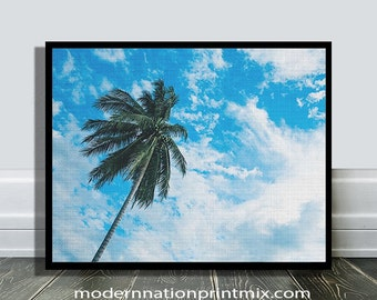 Palm Tree Print, Tropical Decor Wall Art, Beach Photo, Large Poster, Modern Minimal, California, Hawaii, Digital Download, Coastal Life,Tree