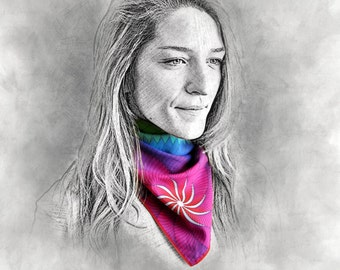 STILLNESS printed scarf, bandana, scarf, gift for her, colorful scarf, rainbow scarf, multicolor scarf, cotton scarf, neck scarf