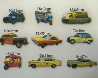 TAXIS from Around the World. 9 x laser cuts
