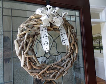 "19"" Driftwood Wreath-Natural Driftwood Wreath-Summer Wreath-Coastal Wreath-Front Door Wreath-Summer Wreaths for Front Door-Beach Home Decor"