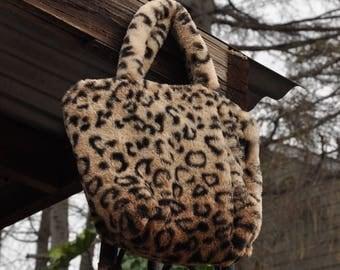 Fuzzy 1990's Leopard Print Purse