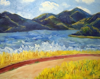 Seascape oil painting on cardboard, Paysage painting