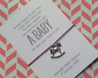 Baby shower favour friendship /wish bracelet with personalised backing card, hand made gift, party bag filler, horse charm, poem