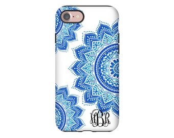 Mandala iPhone 8 case/8 Plus case, monogram iPhone X case, iPhone 7/7 Plus case, girls iPhone cases, iPhone 6s Plus case/6s case monogrammed