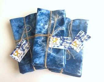 Indigo Tie Dye Cotton Napkins Set of 4