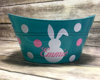 Personalized Easter Basket, Bunny Tub, Plastic Easter Basket, Oval Tub, Personalized Bucket, Easter Egg Basket, Baby Gift Basket