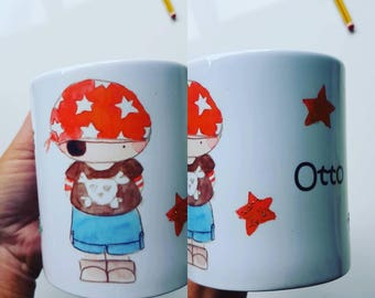 E.gilbert pirate personalised mug