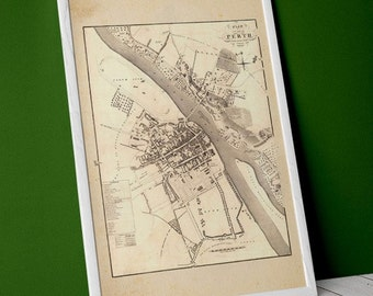 Old map of Perth, Scotland | Giclée Fine Art Print | Vintage Map Home Decor Print. Scottish, Perthshire based on 1823 original
