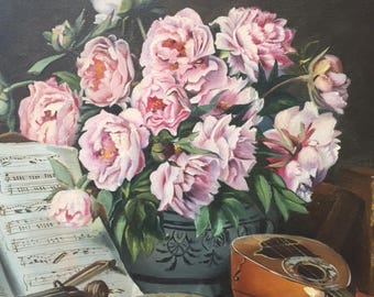 Exquisite Vtg French GICLEE ART PRINT Peonies Music Instruments & Book Late Frame Stamped Copie 4/92 Limited Edition