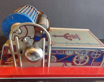 Vintage Louis Marx Toy Printing Press with crank and bell Tin