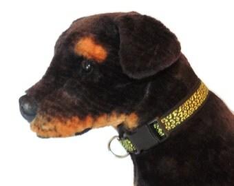 X-Large Neon Yellow Leopard Print Dog Collar