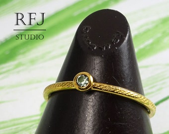 Gold Dainty Textured Lab Tourmaline Ring, Yellow 24K Gold Plated 2 mm Green CZ October Birthstone Handmade Ring, Gold Plated CZ Stack Ring