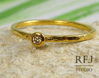 Hammered Cognac Diamond Gold Ring, Yellow 24K Gold Plated 2 mm Cognac Cubic Zirconia Stackable Ring, Cognac Diamond Gold Ring, Golden Ring