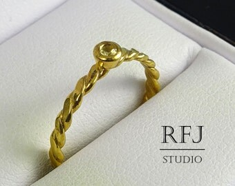 Natural Peridot Flat Rope GP Ring August Birthstone, 2mm Round Cut Peridot 24K Yellow Gold Plated Ring Flat Braided Gold Plated Peridot Ring